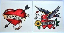 Dos X Estilo Vintage Tatuaje Temporal tragar Corazón Rockabilly Burlesque
