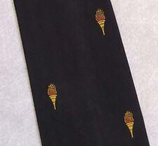 Llama de la antorcha Crest Motif Corbata Vintage Retro Negro 1970s 1980s Club Asociación