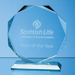 Personalised Engraved Glass Octagon Trophy Award - Best In Show