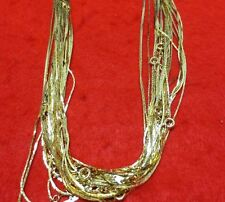 """WHOLESALE LOT OF 12 30"""" 14KT GOLD PLATED DIAMOND CUT 1MM COBRA CHAIN NECKLACES"""