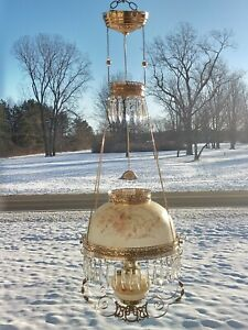 Antique Hanging Library Oil Lamp Brass Frame Glass Shade
