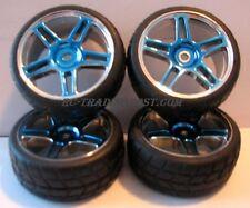 Blue Chrome 1/10 RC On Road Touring Car Wheels/Tires 4pc (RS4, Tc4, E10, Sprint)