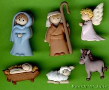NATIVITY - Mary Joseph Baby Jesus Angel Crib Christmas Dress It Up Craft Buttons