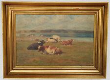 See, Gemälde, Ölgemälde, Wandbild, gemalt, handgemalt, Kuh, Natur, Kuhe