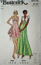 Butterick 3076 1970s Disco Mini Midi Dress Vintage Sewing Pattern, Size 14 Bust