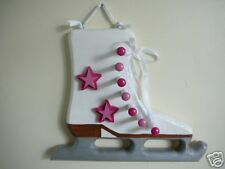 Wooden Ice Skate Medal Display, Pink & Fuschia Pink