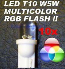 10 Lampadine LED RGB MULTICOLOR T10 W5W FLASH TRICOLOR