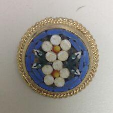 vintage italian micro block round shaped Mosaic pin brooch
