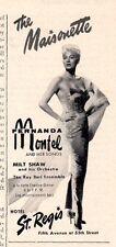 1958 Hotel St. Regis Print Ad The Maisonette features Fernanda Montel Ny