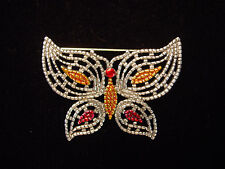 "'Gold & Pink Butterfly' Pin ""Jj"" Jonette Jewelry Silver Pewter"