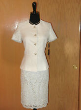 NEW $$$ TAHARI LUXE 2PC SKIRT SUIT 8 LACE IVORY GOLD SILVER STYLISH CHIC SEXY!!