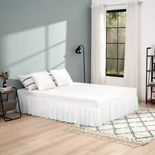 Rimela Bed Skirt Wrap Around Elastic Dust Ruffle Solid Color Wrinkle, Fade 15 in
