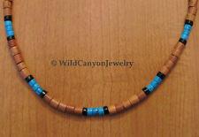 *Handmade* Wood, Turquoise & Black Jasper Gemstone Heishi Necklace