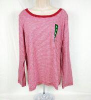 Splendid Women's Lightweight Knit Top Long Sleeve Red White Stripe Size X-Large