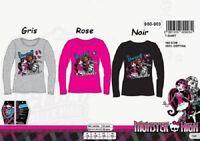 12 ans ROSE * T-shirt m. longues Monster High * NEUF l'unité * 100% coton