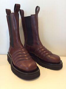 Chunky Brown Leather Tire Boots Bottega Vaneta Style 39