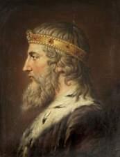 Alfred el gran rey de Wessex Inglaterra Samuel Woodforde 1793, 7x5 pulgadas impresión