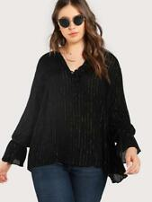 NEW..Stylish Elegant Plus Size Black Blouse with Gold Lurex Stripe..Sz20/2XL