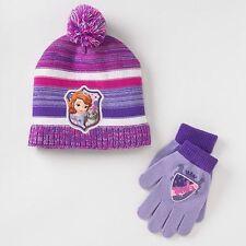 Disney Girl's One Size Purple Stripe Sofia The First Beanie & Gloves Set NEW $22