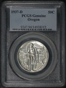 1937-D Oregon 50C Silver Commemorative PCGS Genuine