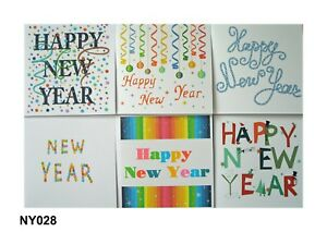 Happy New Year cards - pk of 6 cards & envelopes, Multi buy discounts available