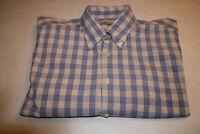 Peter Millar Men's Sz Large 100% Cotton Blue Plaid Short Sleeve Button Shirt EUC