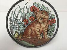 "Glassmaster Stained Glass Window Suncatcher, Cat, 6 3/8"" Diameter"