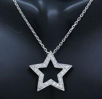 "14K White Gold 0.50ctw G-VS2 Round Cut Natural Diamond Star Pendant Necklace-16"""