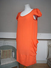 "Orange soft silky cap/short puff sleeve I line dress by ""people's market"" size S"