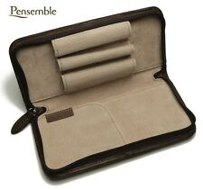 "Pilot Round Zipper Cowhide Leather Pen Case ""Pensemble"" Dark Brown PSPC-01-DBN"