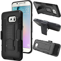 For Galaxy S7 S7 Plus Hybrid Heavy Armor Stand Belt Clip Holster Case Cover