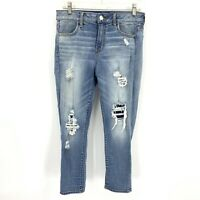 American Eagle Jeans Distressed Hi Rise Jegging Super Stretch Crop Womens 10