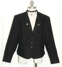 BLACK ~ WOOL & MOHAIR Women German Hunting Riding Dress JACKET Over Coat 46 14 L