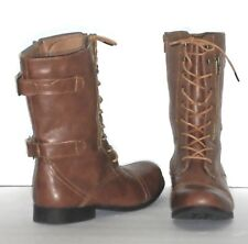 FASHION BOOTS - MID-CALF MILITARY STYLE - SIDE ZIPPER – TIE FRONT -SIZE 10 -EXC