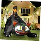 6FT Long Inflatable Black Cat with LED Flashing Eyes, Halloween Blow Up Yard