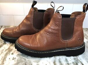 Ariat Spot Hog Chelsea Women's 7.5 B Brown Leather Ankle Boots - EUC Ships Fast