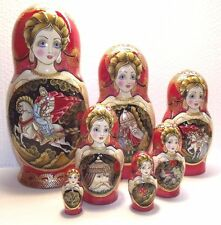 """7 dolls, Russian Matryoshka , by the author, height 9.4 """""""