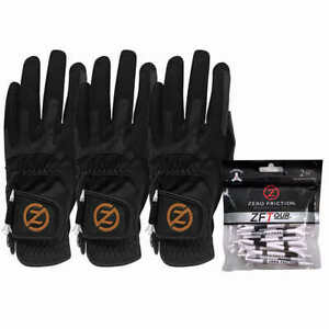 Zero Friction Men's Copper Flex Golf Gloves, 3 Pack - BLACK (Right Handed)