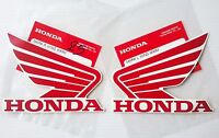 Honda  Wing Fuel Tank Decal Wings Sticker 2 x 95mm Red & White 100% GENUINE