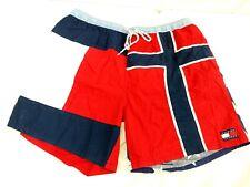 Tommy Hilfiger Men Large Blue Red Color Block Stars Stripes Swim Trunk Logo VTG
