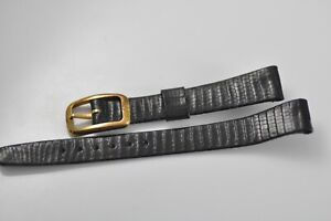 13mm Omega Vintage Band Strap Black with Gold Plated Buckle NOS Mint W34