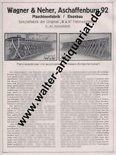 Wagner & Neher Aschaffenburg Fahrrad-Ständer Große Werbeanzeige von 1927 Reklame