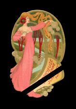 Antique French Perfume Label: Art Nouveau J Chamberry Brillantine La Capricieuse