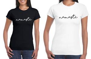 Ladies Basic NAMASTE Yoga T-Shirt Short Sleeve Slim Relax Meditation Fashion Top