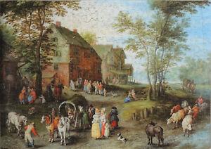 """Wentworth 500 Piece Wooden Jigsaw Puzzle. """"Village Landscape""""-Jan Brueghel"""