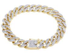 "Men's 10k Yellow Gold Real Diamond Miami Cuban Link Bracelet 2 Ct 11mm 8.5"""