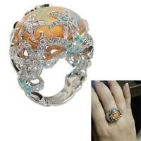 verlobung diamanten 925 silber orange feuer opal - ring seestern schmuck