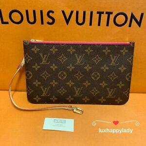 🔥NEW AUTHENTIC LOUIS VUITTON Large Monogram Pink Pouch Pochette Clutch Wristlet