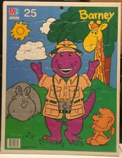 1992 Frame Tray Puzzle Barney The Purple Dinosaur Safari Zoo Giraffe Lion Hippo