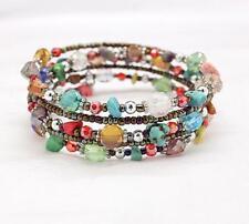 Natural gravel crystal stone handmade beaded bracelet  multi-circle steel ring